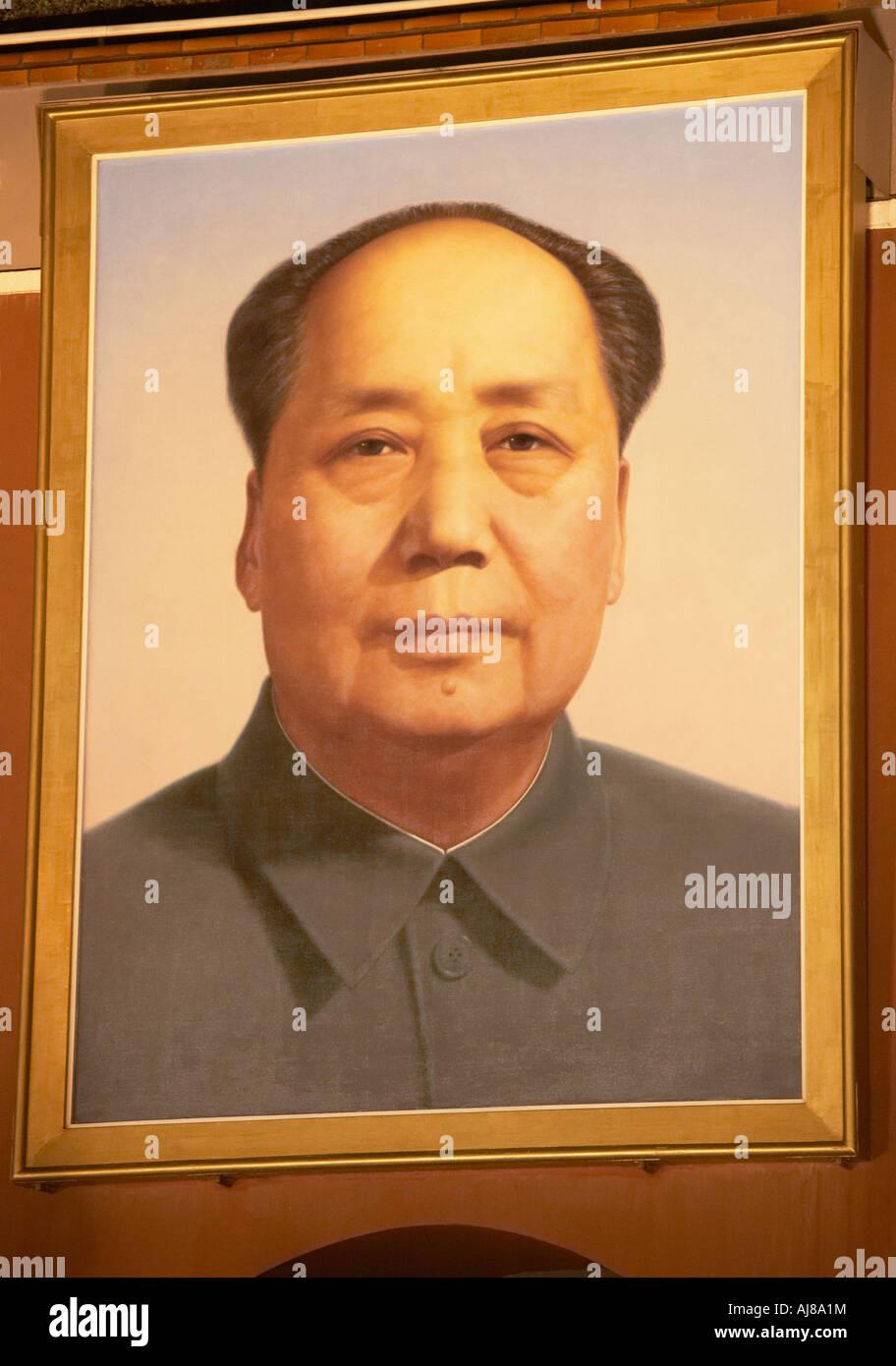 Porte de la paix céleste lumineux, le président Mao portrait Photo Stock
