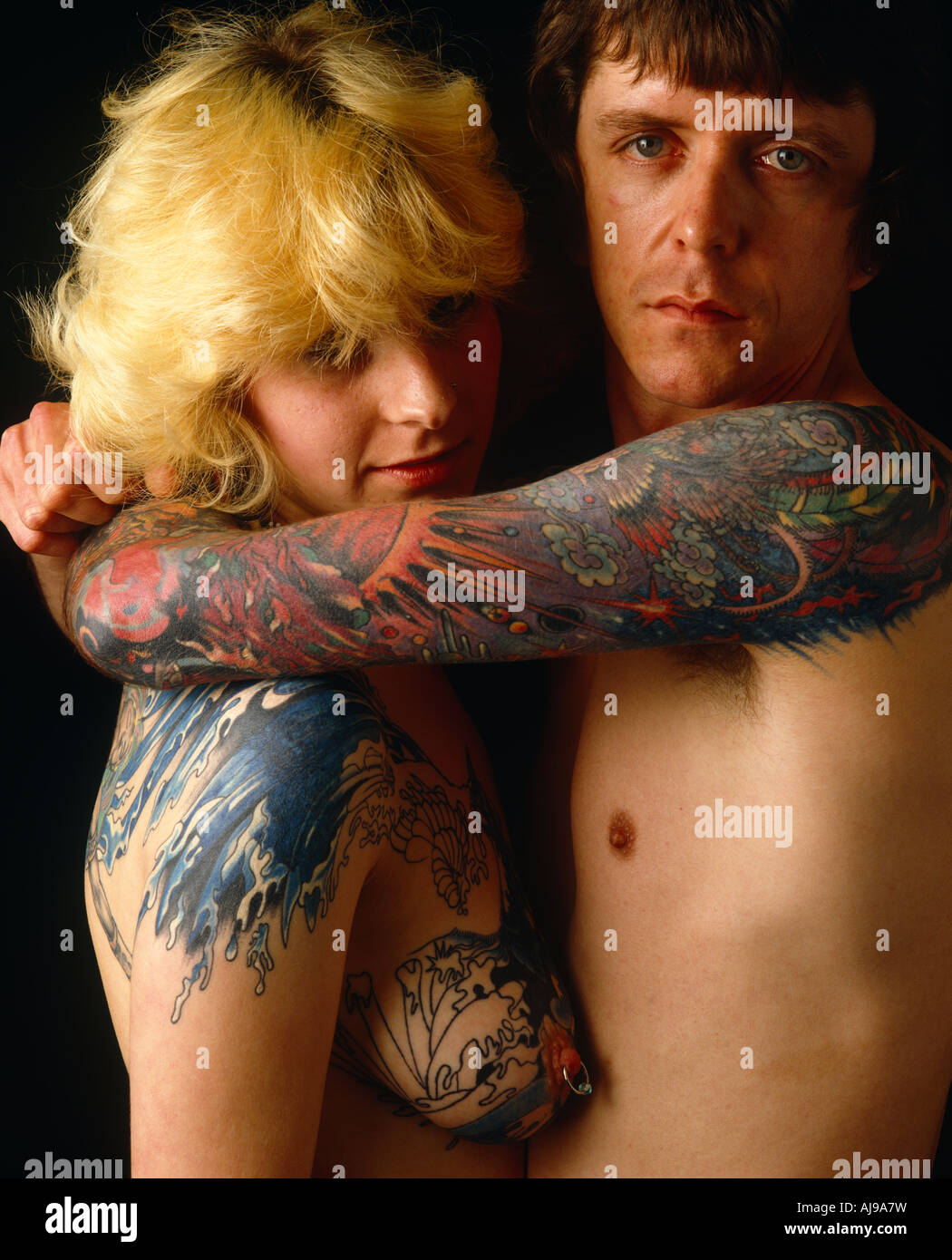 Couple tatoué Photo Stock