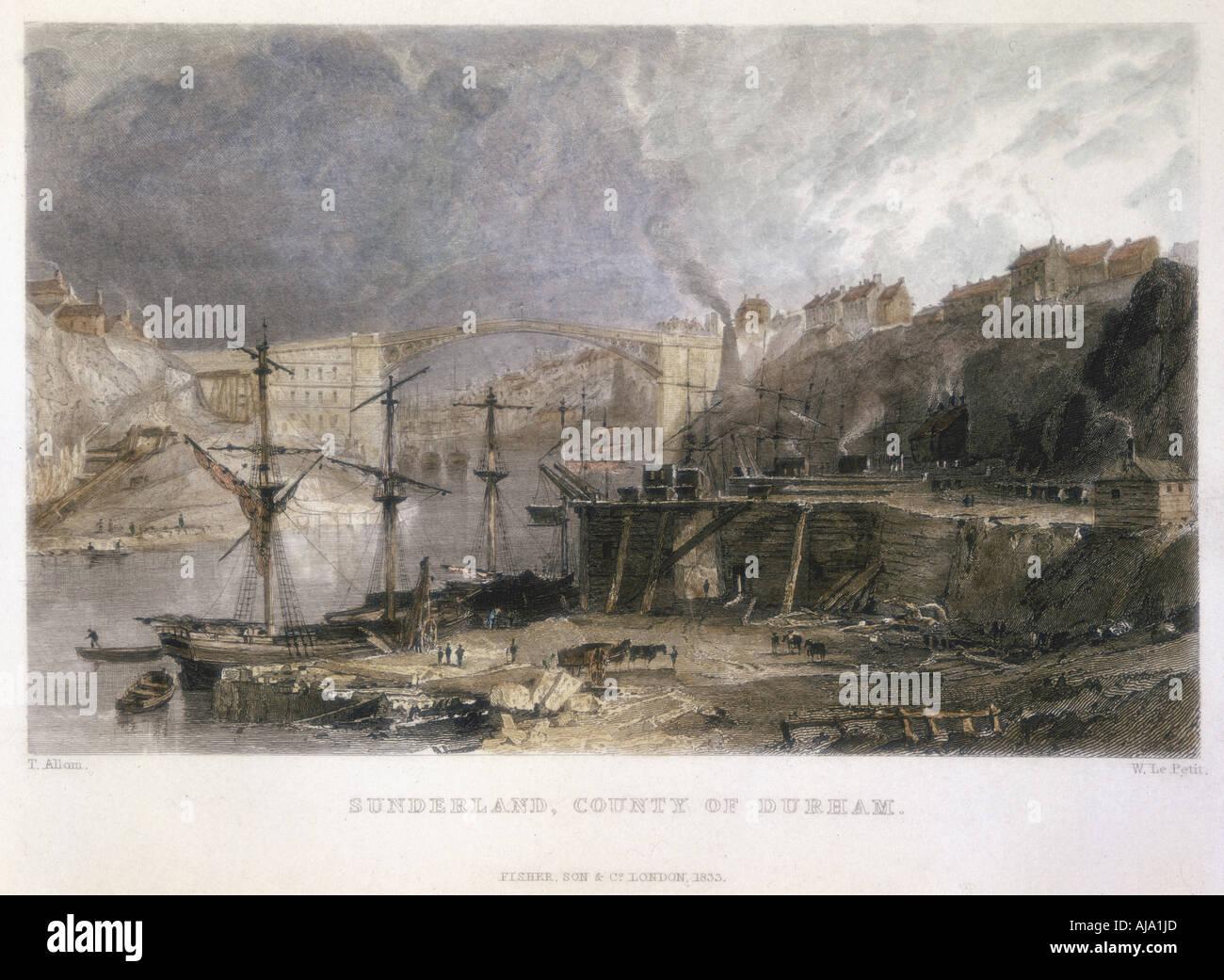 Avis de Sunderland et le pont de fer à l'Est, 1833. Artiste: Inconnu Banque D'Images