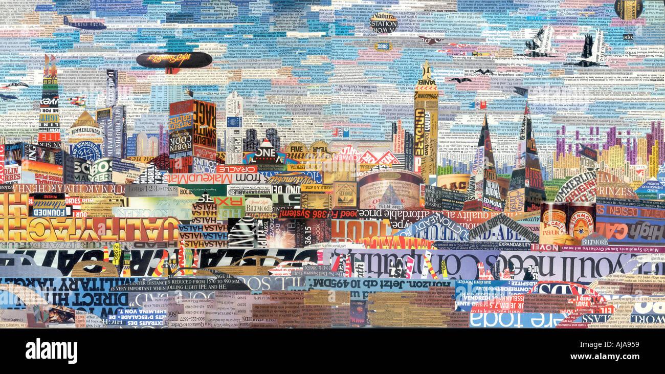Collage représentant un paysage urbain futuriste Photo Stock