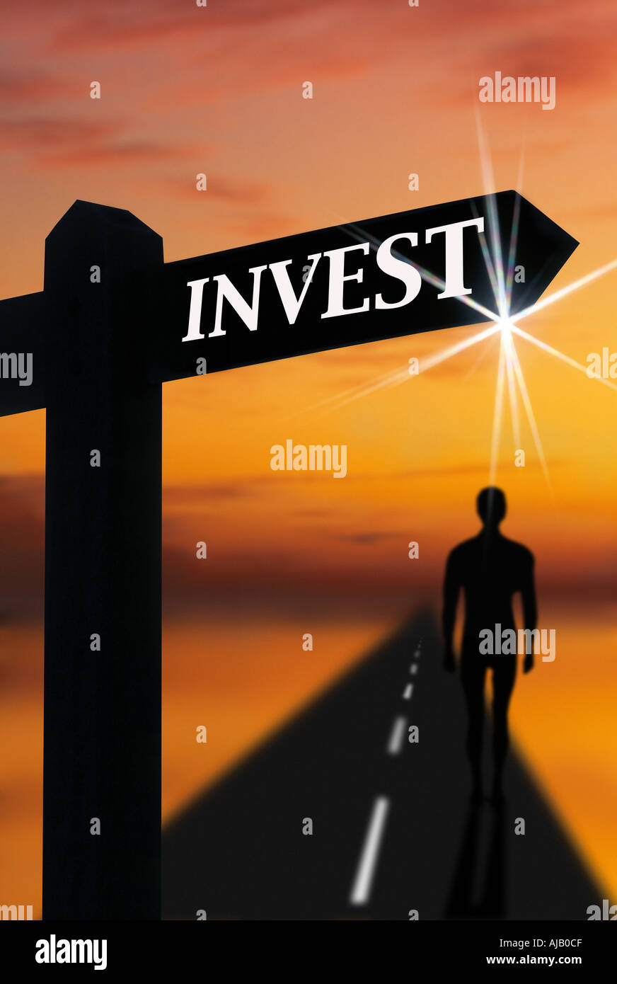 Panneau routier indiquant à investir Photo Stock