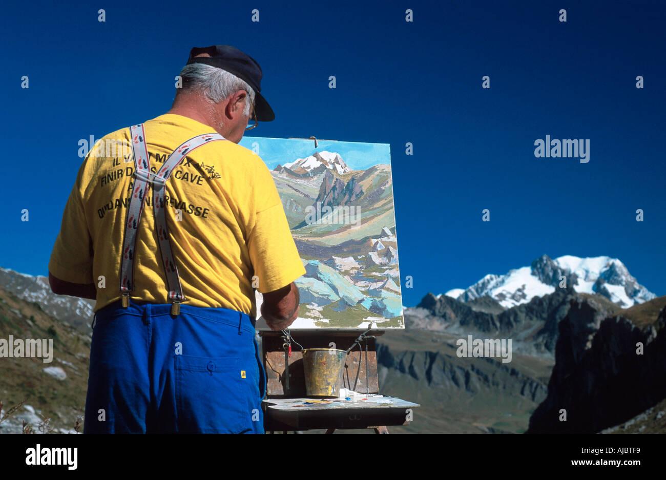 Dans paysagiste Peinture paysage alpin, Mont Blanc, France, Savoie Photo Stock