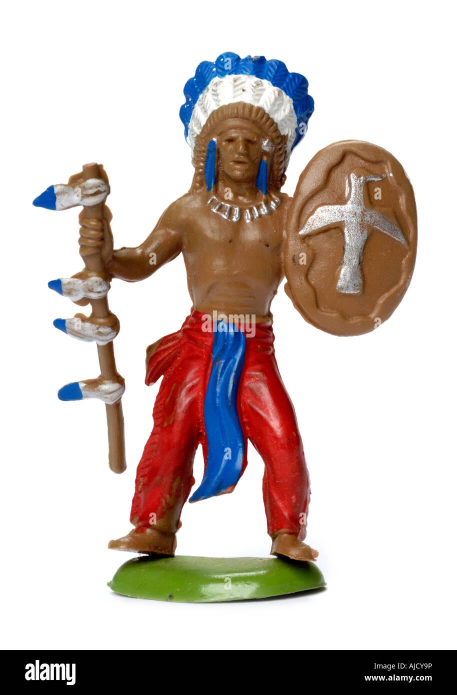 Jouet en matière plastique rétro American Indian figure Photo Stock