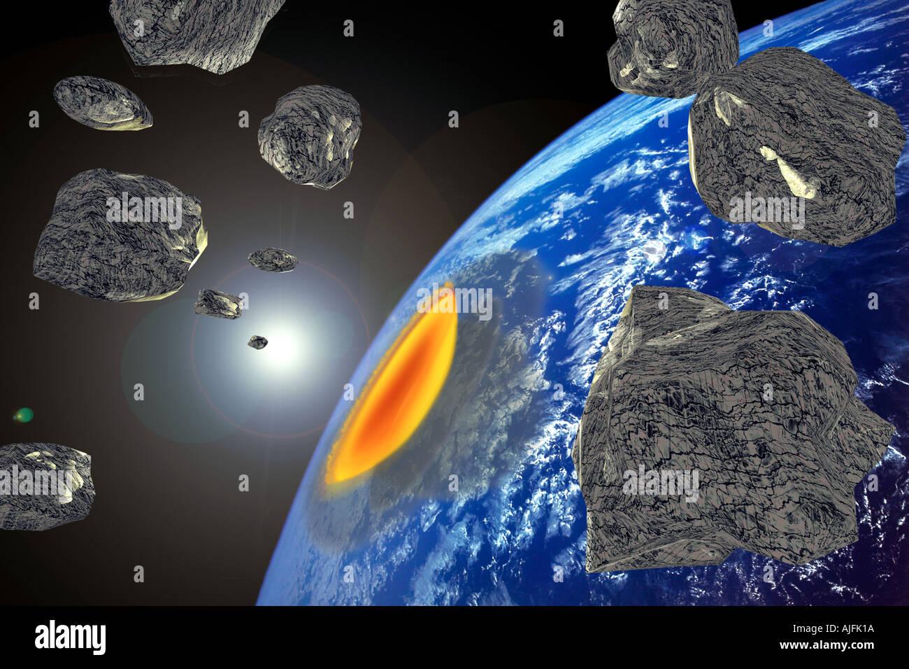 Très gros astéroïde Collision avec la terre Niveau d'Extinction Banque D'Images