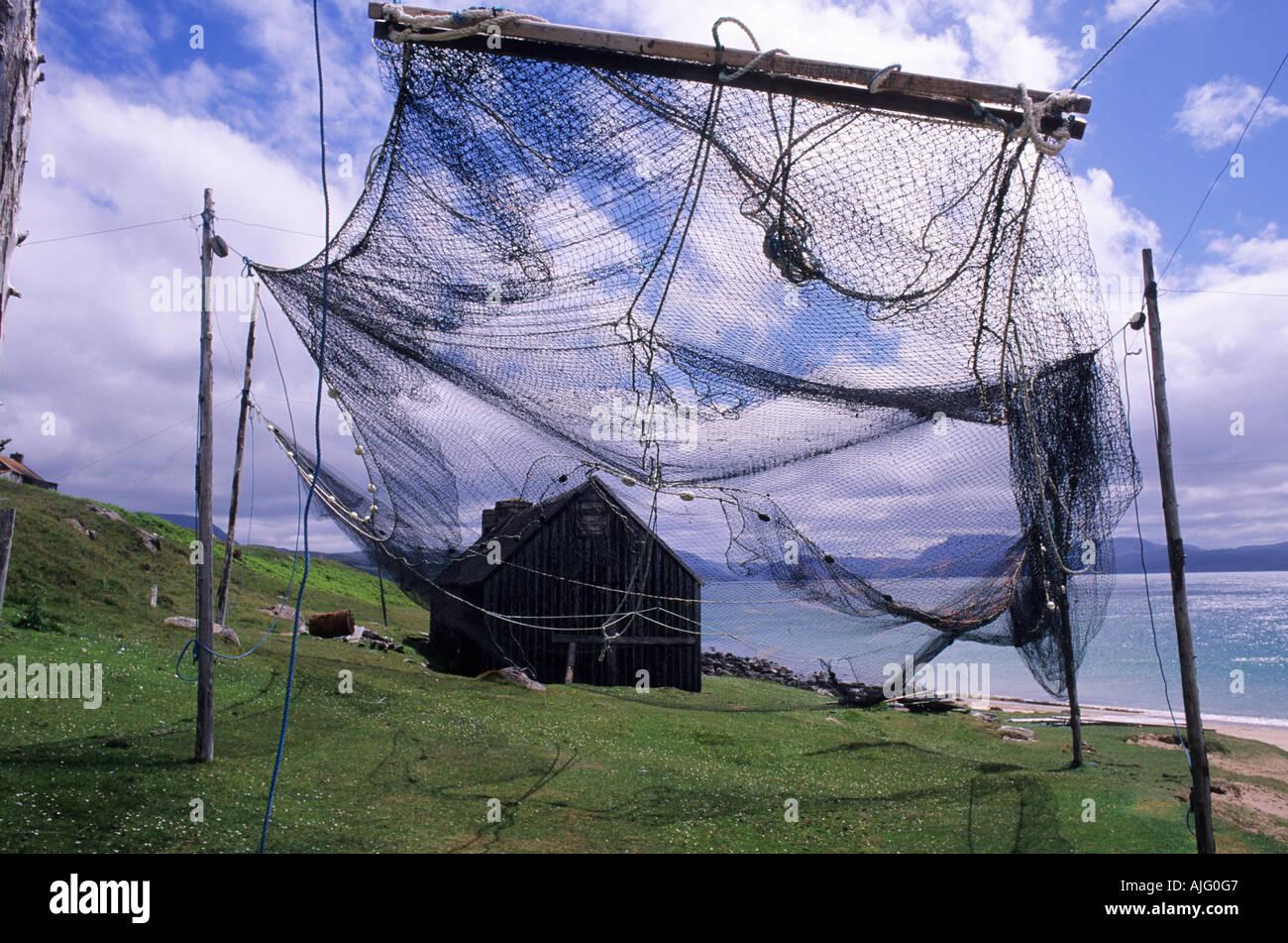 Le séchage des filets à saumon Bothy Beach Redpoint Wester Ross Ecosse Highlands de l'Ouest Photo Stock