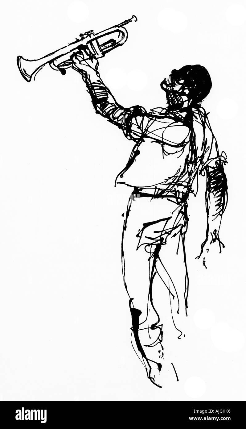 Jazz sud fait le dessin des lignes d 39 un musicien de la - Dessin musicien ...
