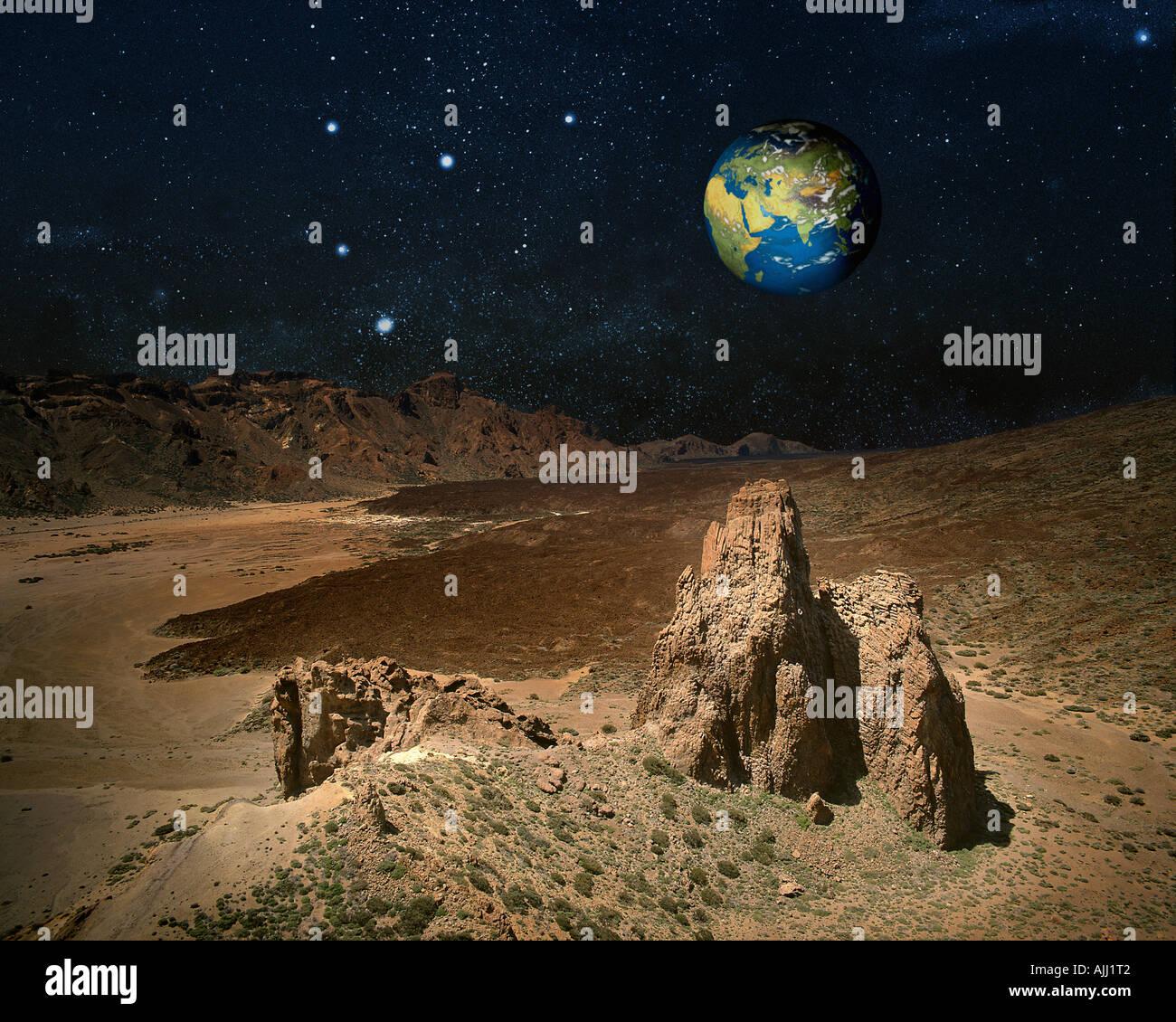 Photographie CONCEPT: Planète Terre depuis l'espace extra-atmosphérique Photo Stock