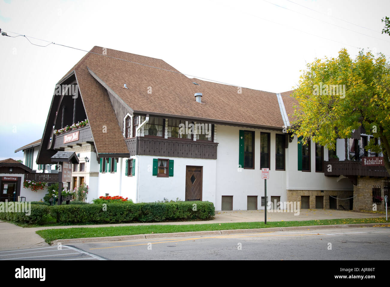 Monroe Hall Turner Wisconsin Patrimoine suisse et centre communautaire, reconstruit en 1938 après un incendie a Banque D'Images