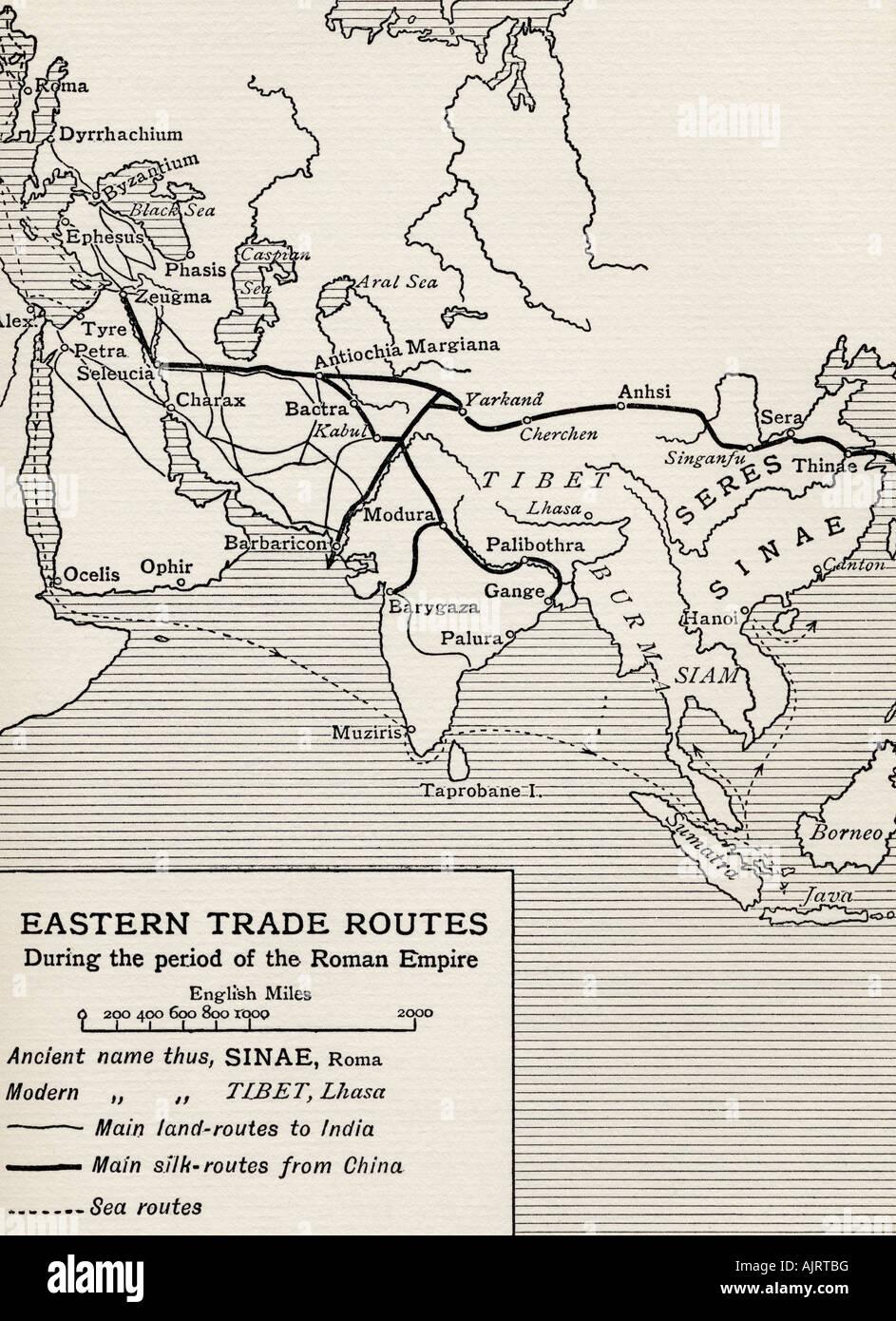 Les routes commerciales de l'Est au cours de la période de l'Empire romain à partir de l'ouvrage Photo Stock