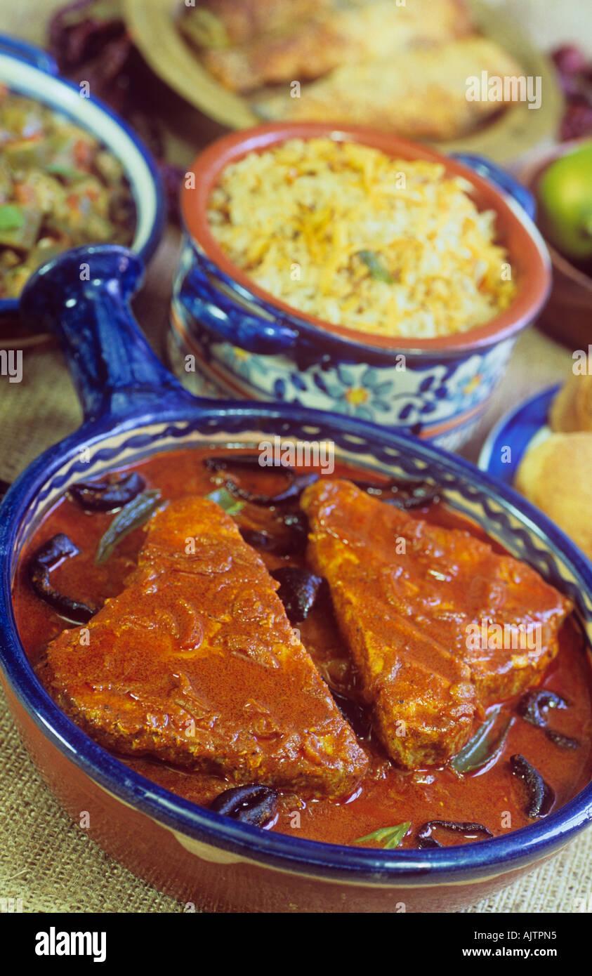 Curry de Poisson Alimentaire de l'Inde et le riz au curry Tik Ambot Goa Banque D'Images