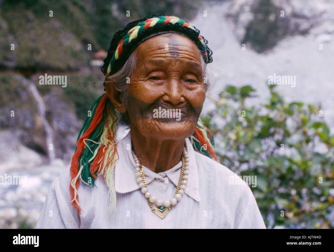 Toroko Gorge Taiwan Tribu Ami femme âgée Photo Stock