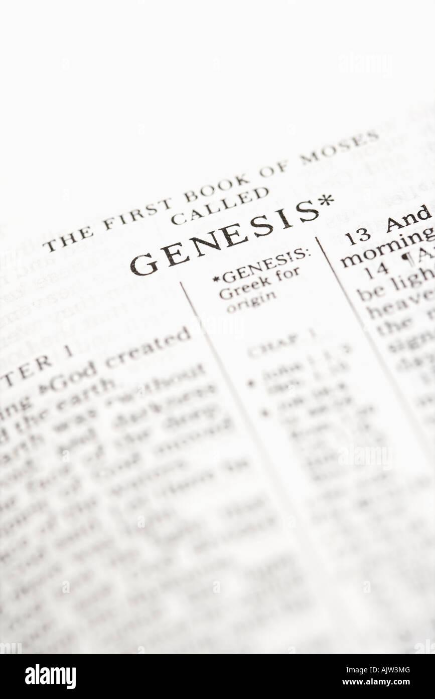Focus sélectif de la Genèse versets de la Sainte Bible ouverte Photo Stock