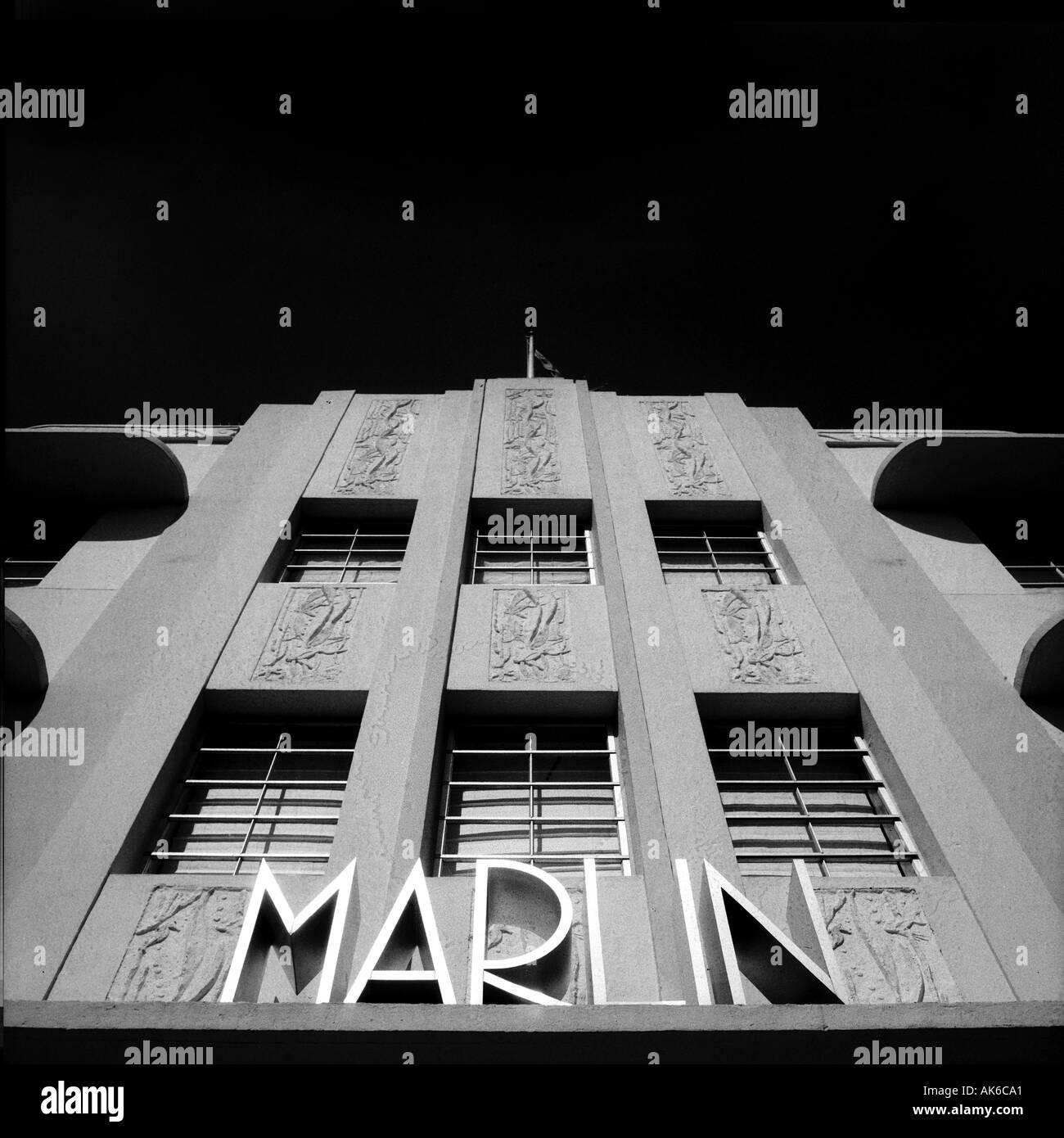 Façade de l'hôtel Marlin à Miami s quartier Art déco de South Beach Banque D'Images