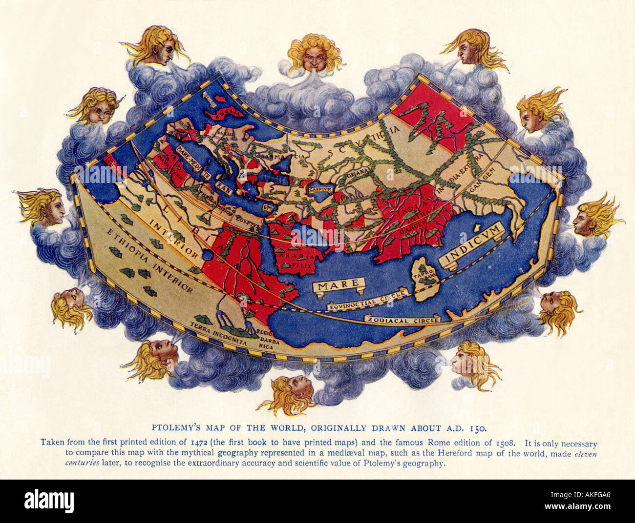 Carte du monde de Ptolémée vers 150 Annonce de l'édition de 1472. Demi-teinte couleur Photo Stock