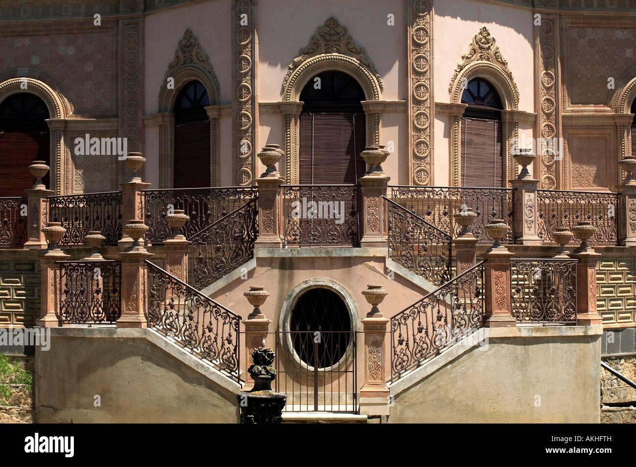 La villa du dix-neuvième siècle, à Caltagirone, en Sicile, Italie Photo Stock