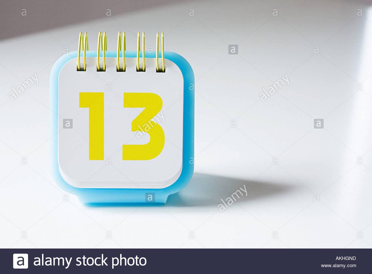 Numéro treize sur un calendrier Photo Stock
