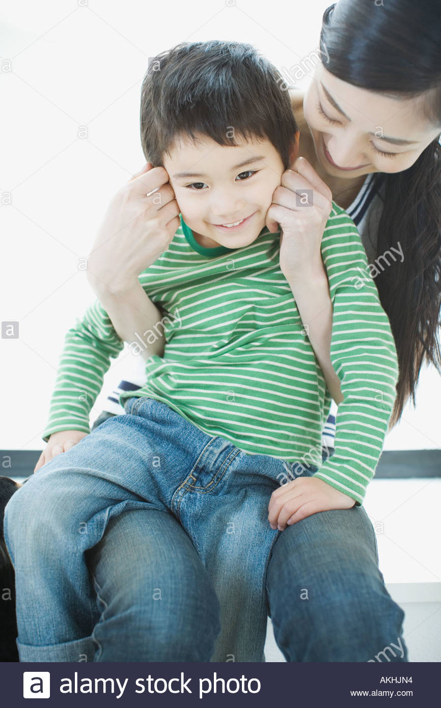 Asian mother with son Photo Stock
