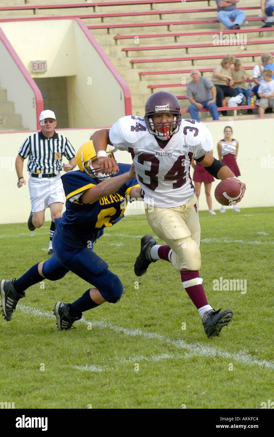 L'action de l'école de football de haut Port Huron au Michigan nous américain U S Photo Stock