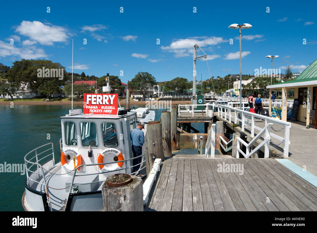 Au quai de la ville de Russell, Bay of Islands, Northland, North Island, New Zealand Photo Stock