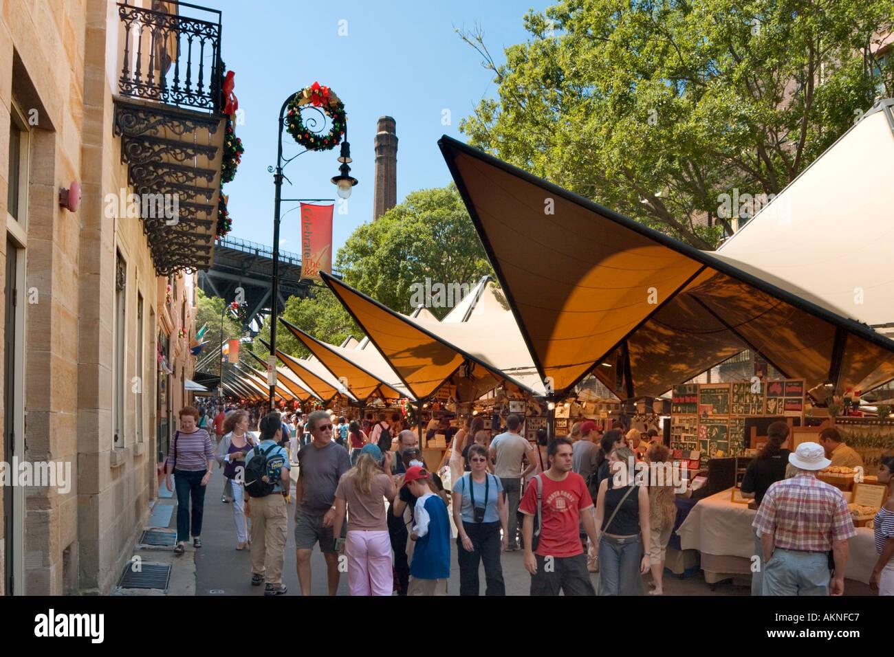 Marché le dimanche sur George Street, The Rocks, Sydney, New South Wales, Australia Photo Stock