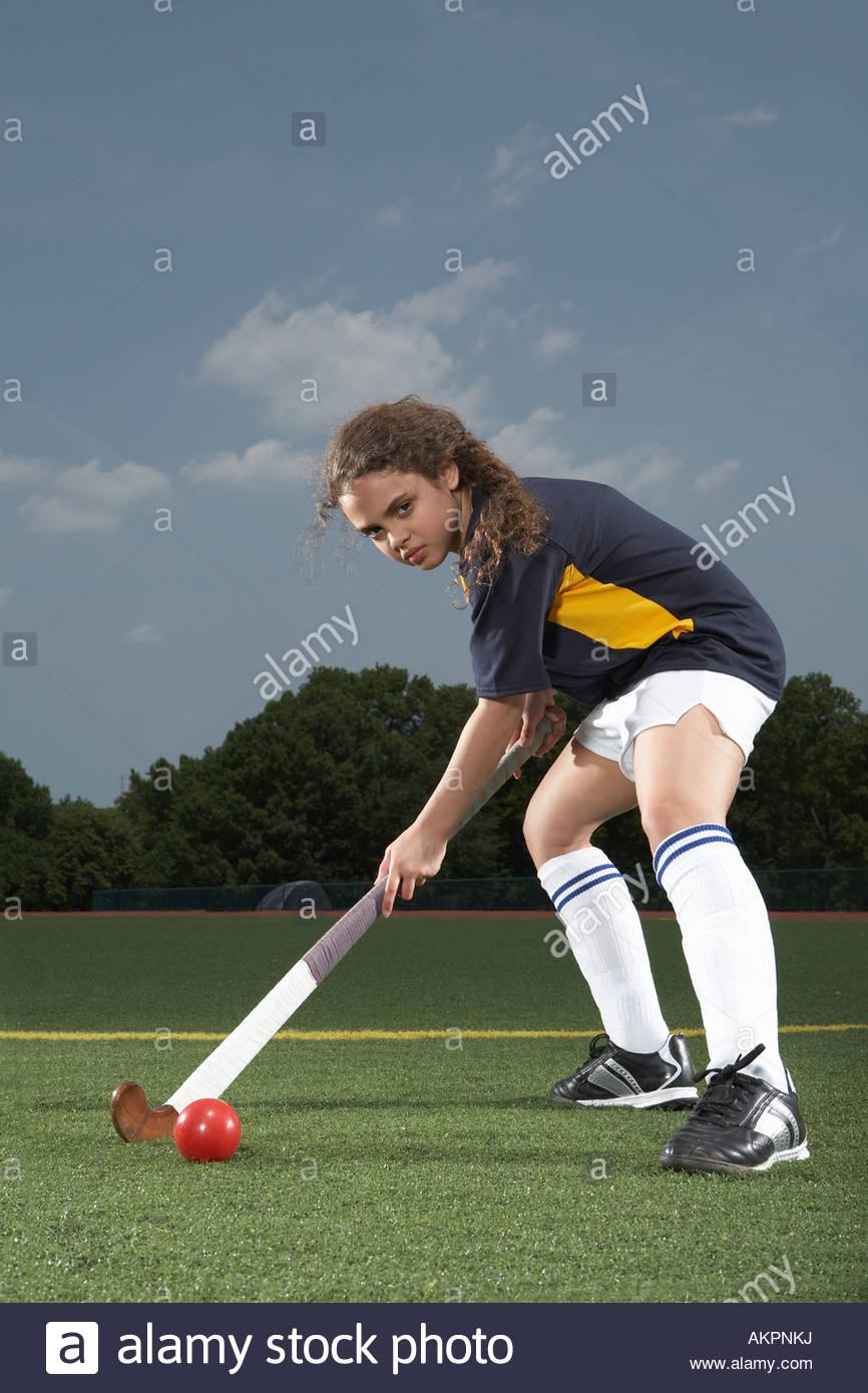 Portrait d'un joueur de hockey Photo Stock
