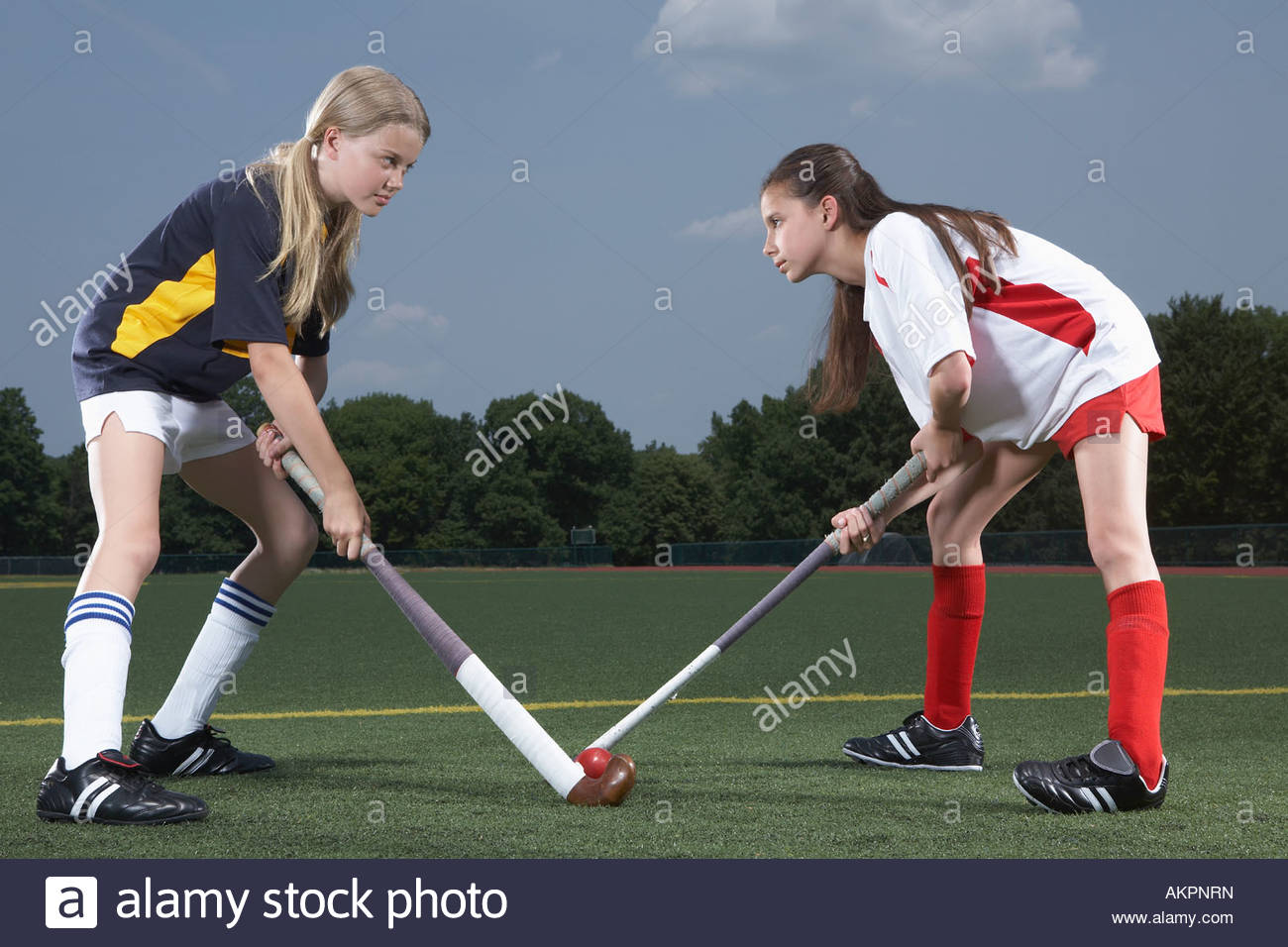 Joueurs de hockey Rival Photo Stock