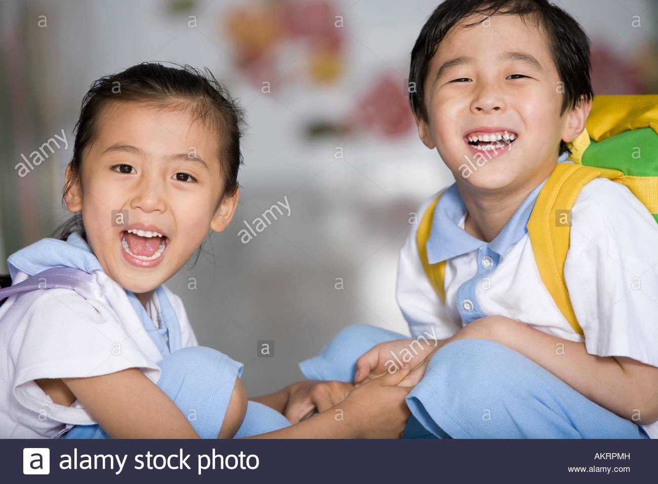 Deux étudiants de l'école primaire Photo Stock