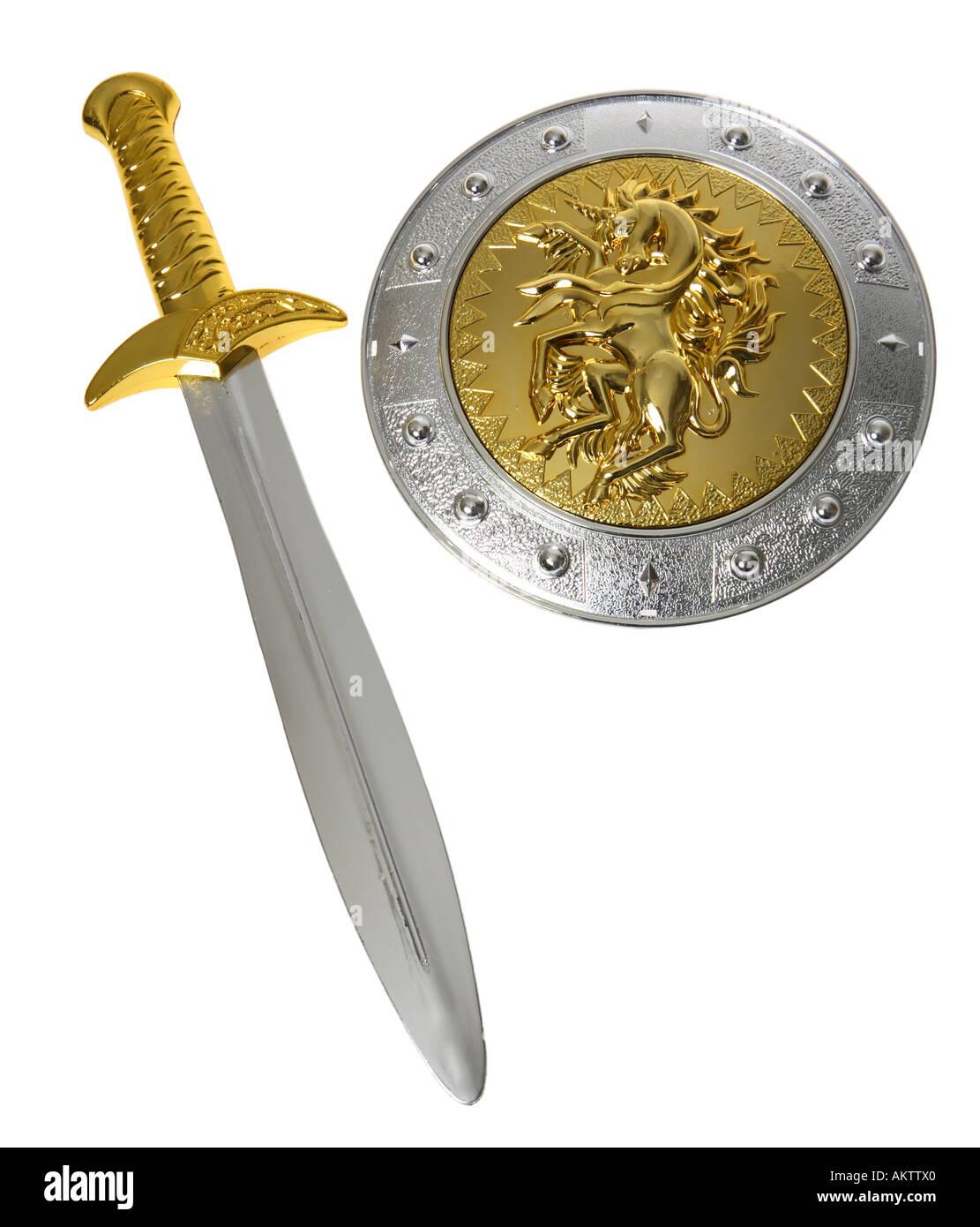 Toy épée et le bouclier Photo Stock