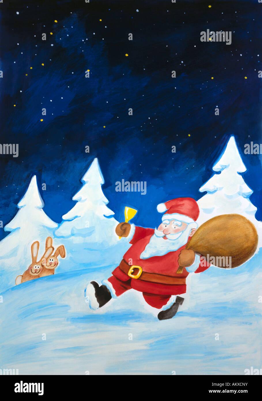 Le Père Noël apporte des cadeaux, illustration Photo Stock