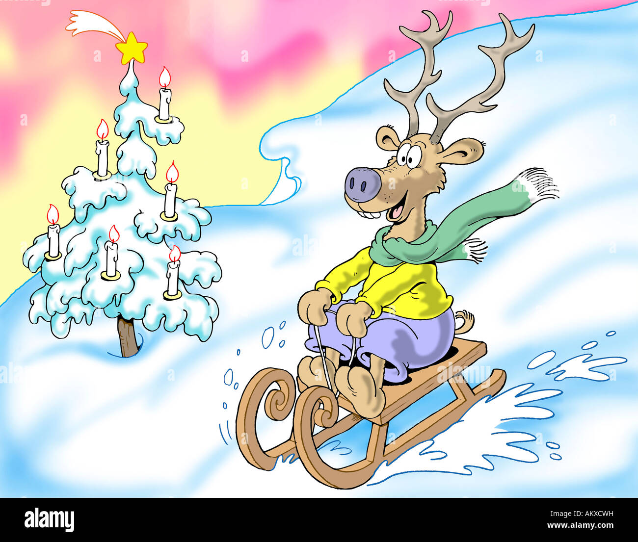 La luge joyeux renne, illustration Photo Stock