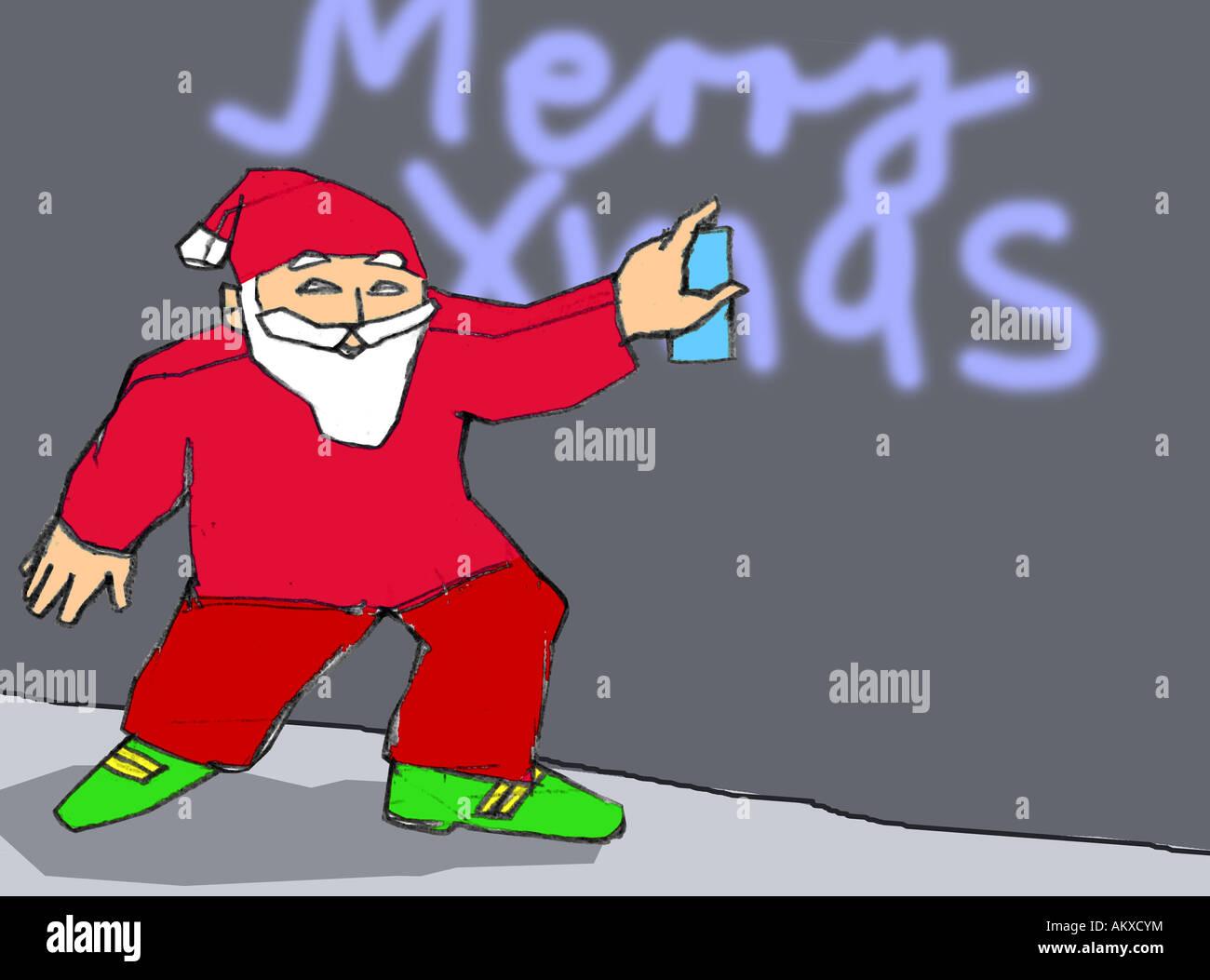 Le Père Noël de pulvérisation, illustration Photo Stock