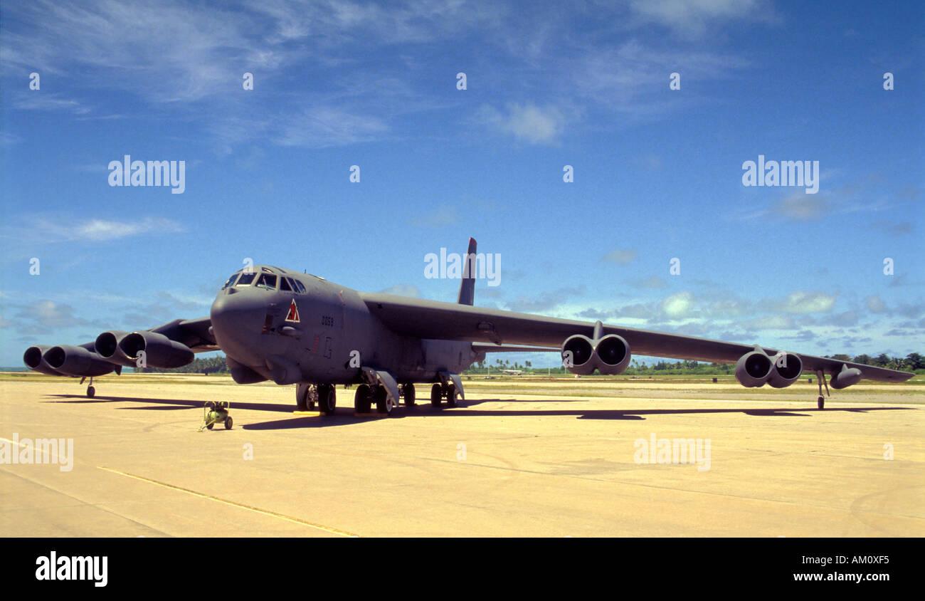 Bombardier Boeing B52 déployés dans les Territoires britanniques de l'Océan Indien Diego Garcia Banque D'Images