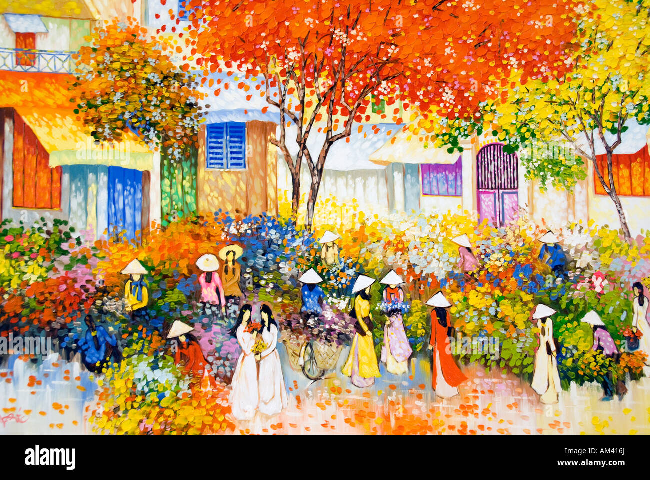 Détail de la peinture à l'huile vietnamien contemporain Photo Stock