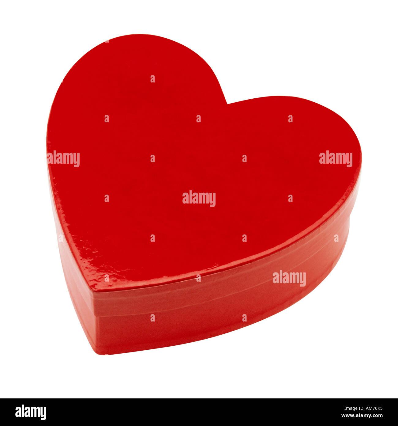 Une boîte en forme de coeur rouge Photo Stock