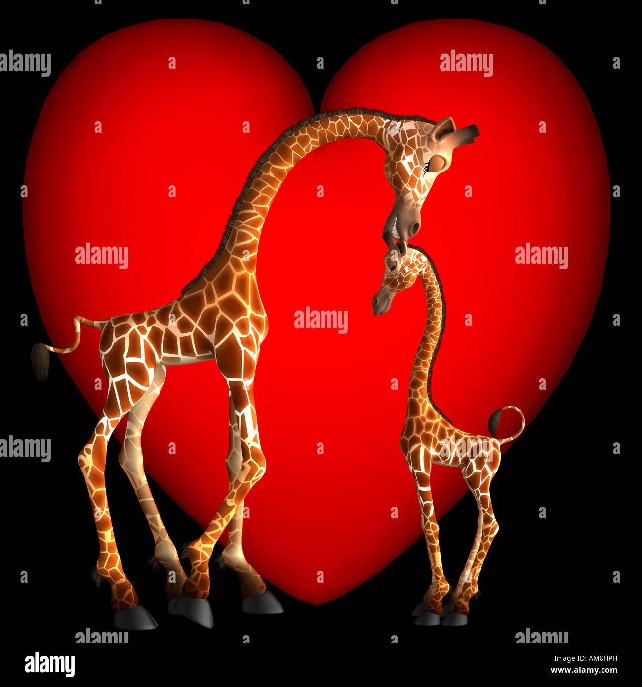 Gabby Girafe montre de l'affection à son fils en lui donnant un petit baiser sur le haut de sa tête. Photo Stock