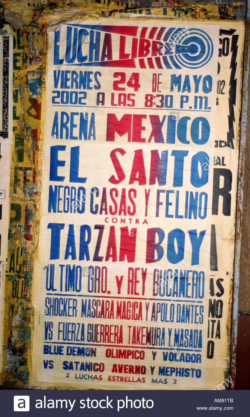 La ville de Mexico, Mexique, affiche pour Luche Libre, l'un des sports les plus populaires et d'une forme d'évasion pour les visiteurs. Photo Stock