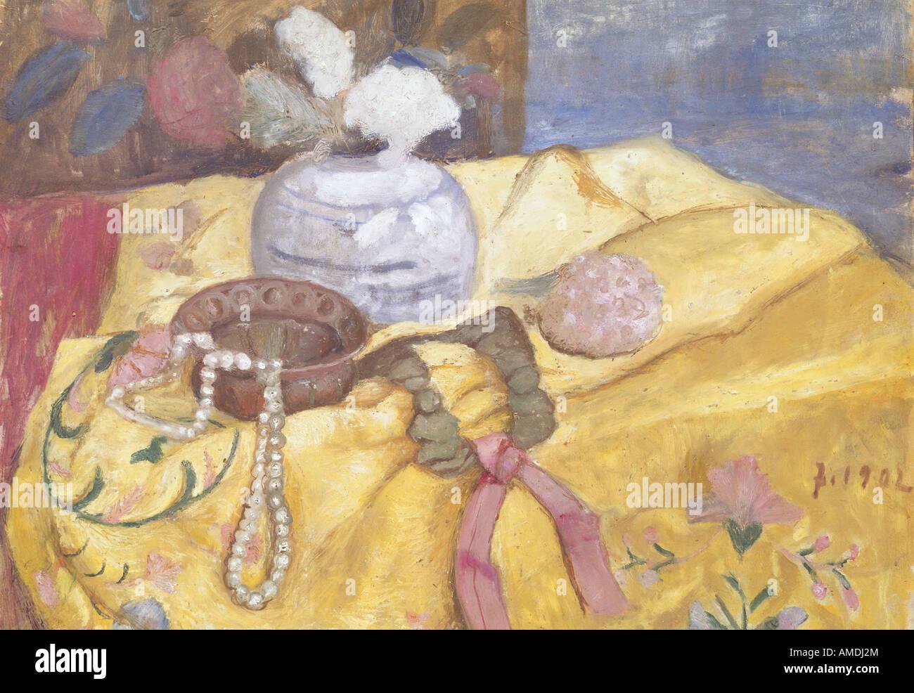 Beaux-arts, Paula Modersohn-Becker, (1876 - 1907), peinture, still life pearl Collier, 1902, Galerie d'état Photo Stock