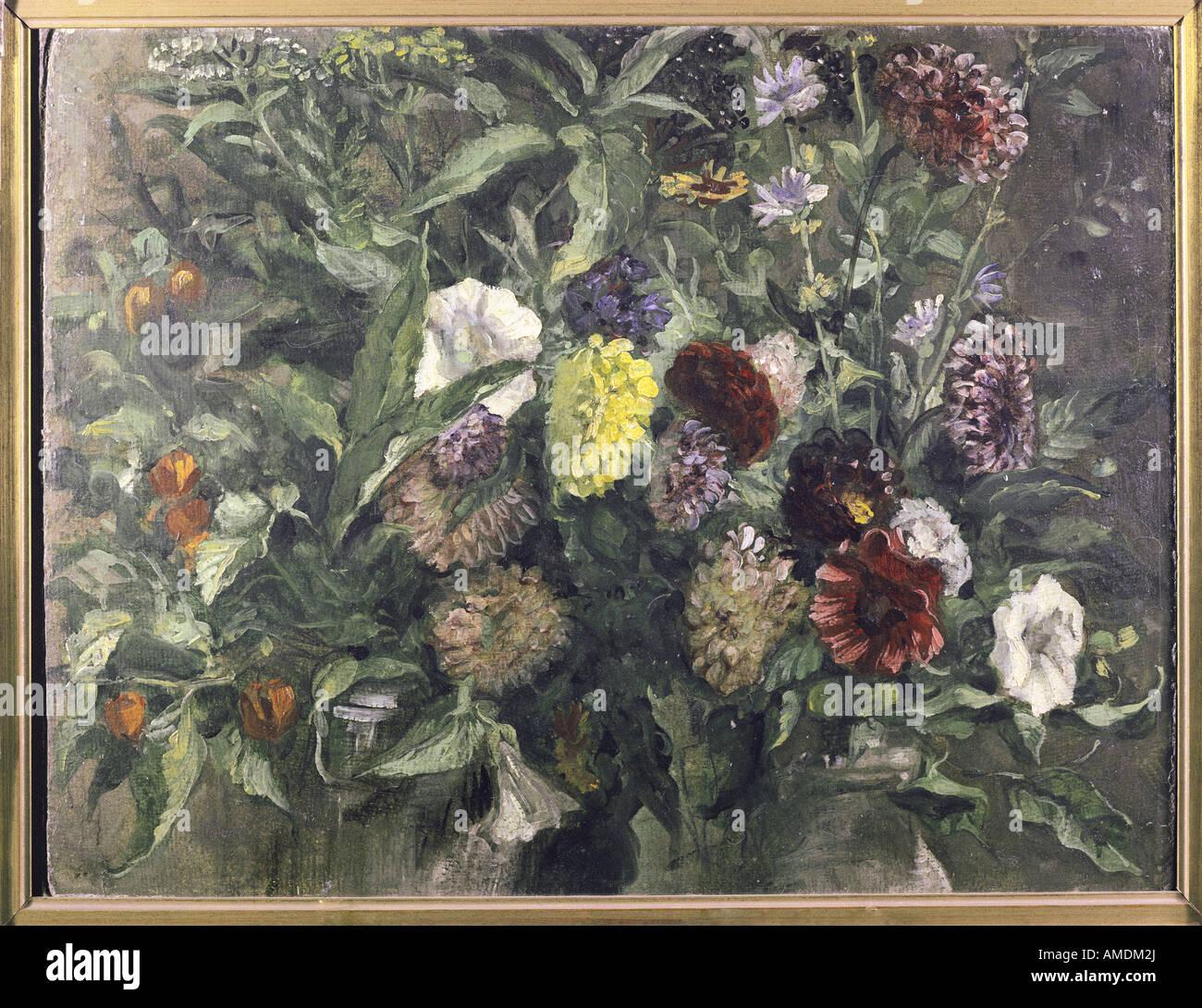 Beaux-arts, Delacroix, Eugène (1798 - 1863), peinture, stil life de fleurs, vers 1849, huile sur carton, Kunsthalle Banque D'Images
