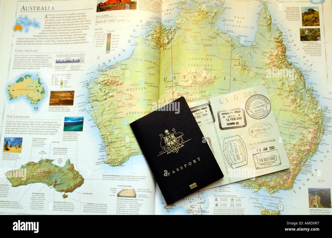 Carte Visa Australie.Passeport Avec Visa Australien Des Timbres En Caoutchouc