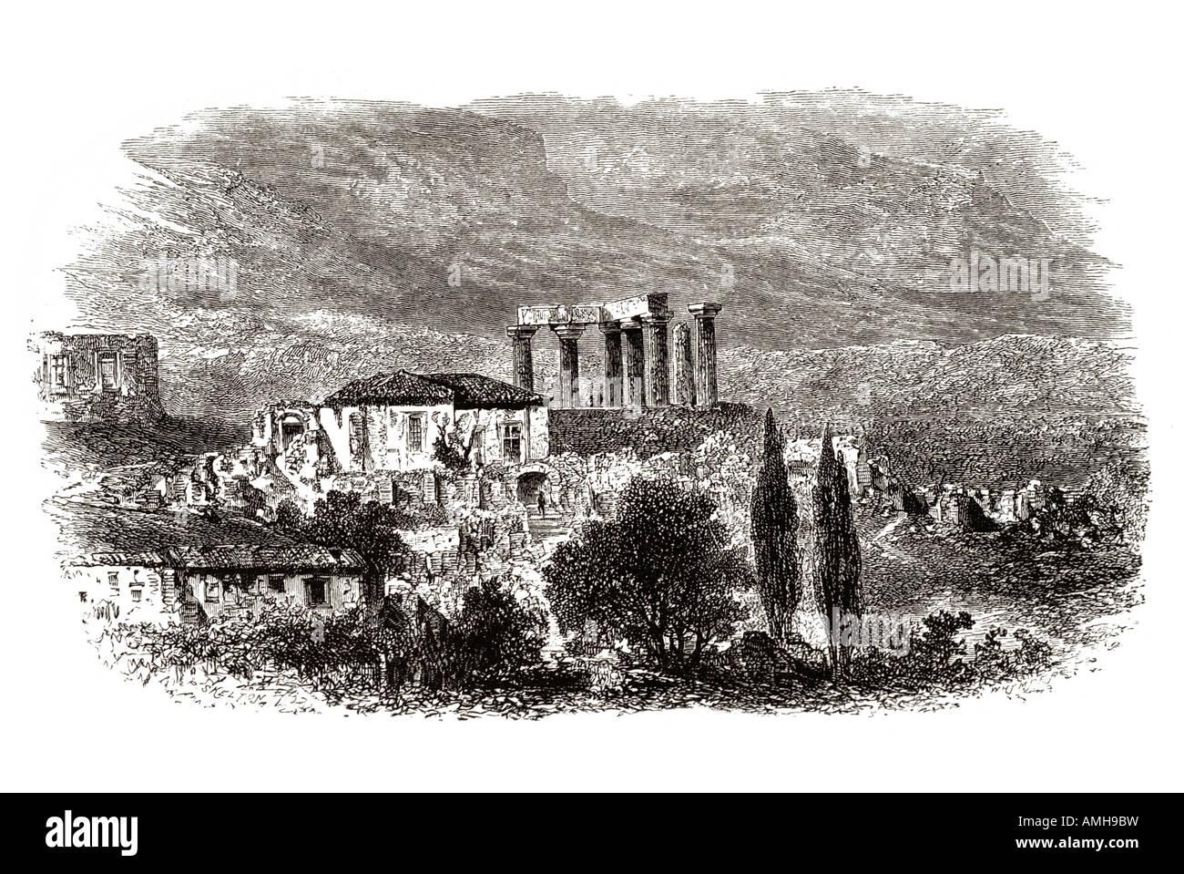 Corinthe Loutráki grec apollo temple antiquité isthme ville-État du Golfe Saronique Péloponnèse Photo Stock