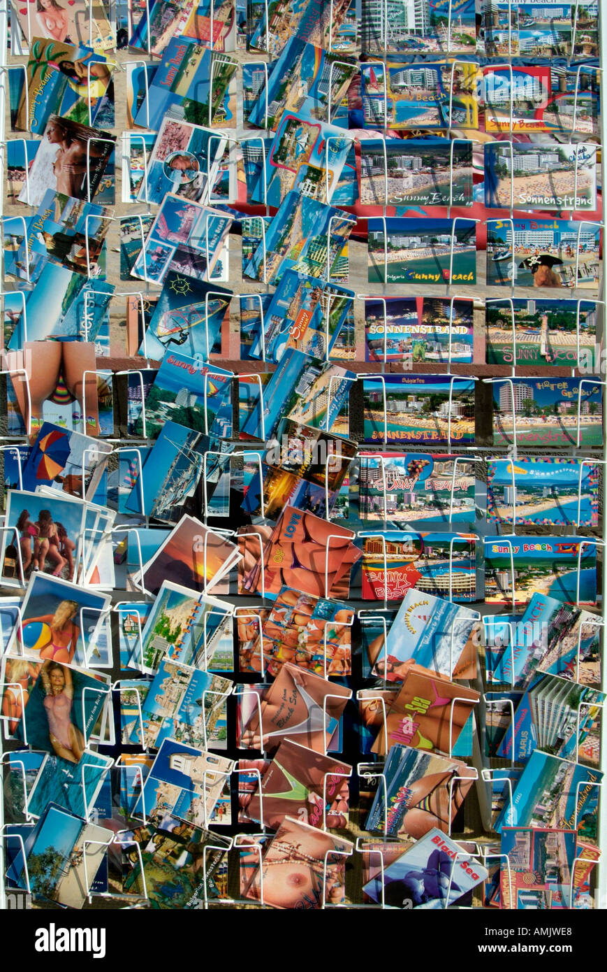 Carte postale souvenir shop Bulgarie République Populaire Narodna Republika Bulgariya la péninsule des Balkans au sud-est de l'Europe Photo Stock