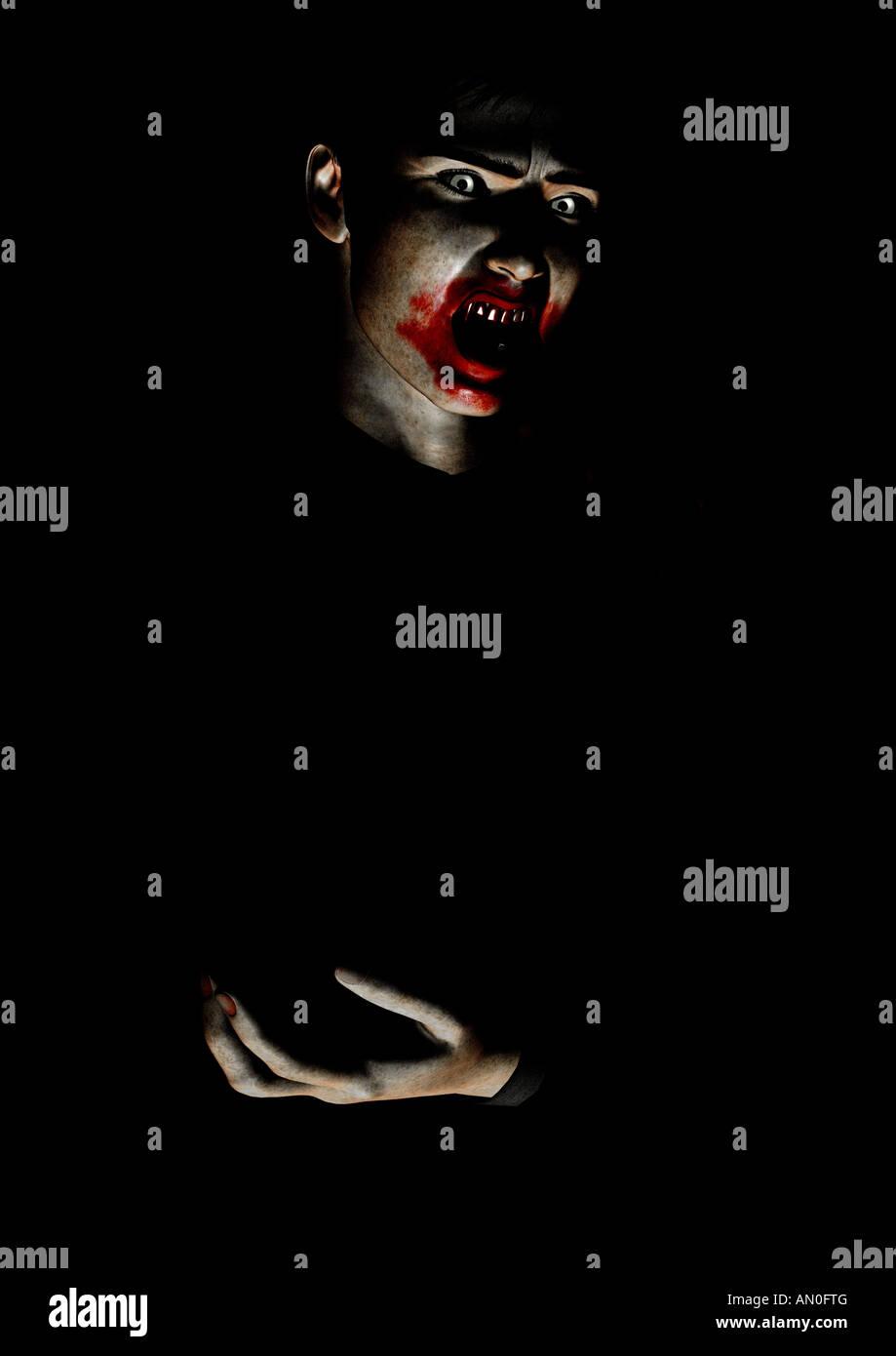 Vampire avec bouche ensanglantés Banque D'Images