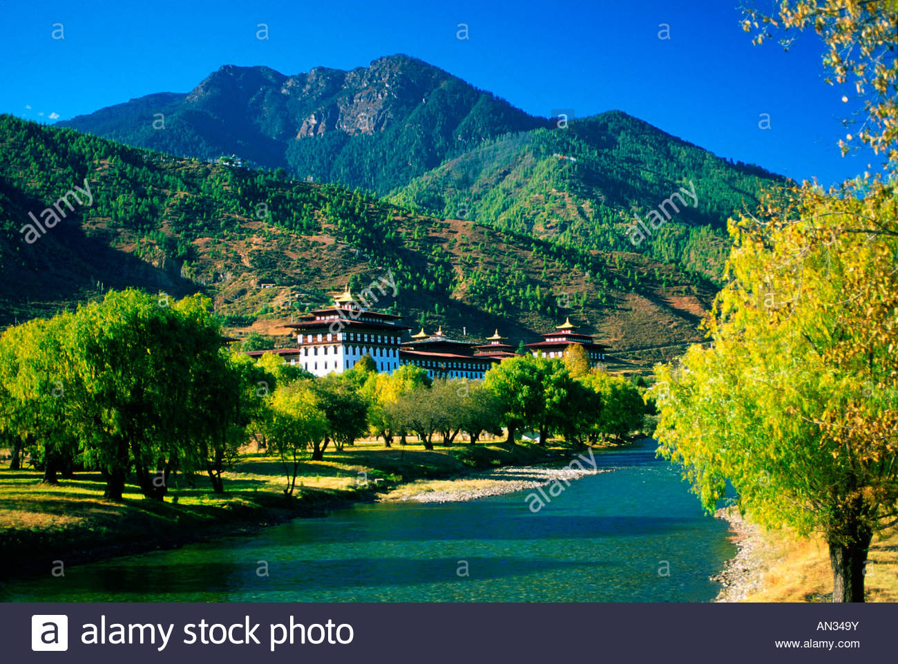 Tashi Chodzong siège du gouvernement central bhoutanais Photo Stock