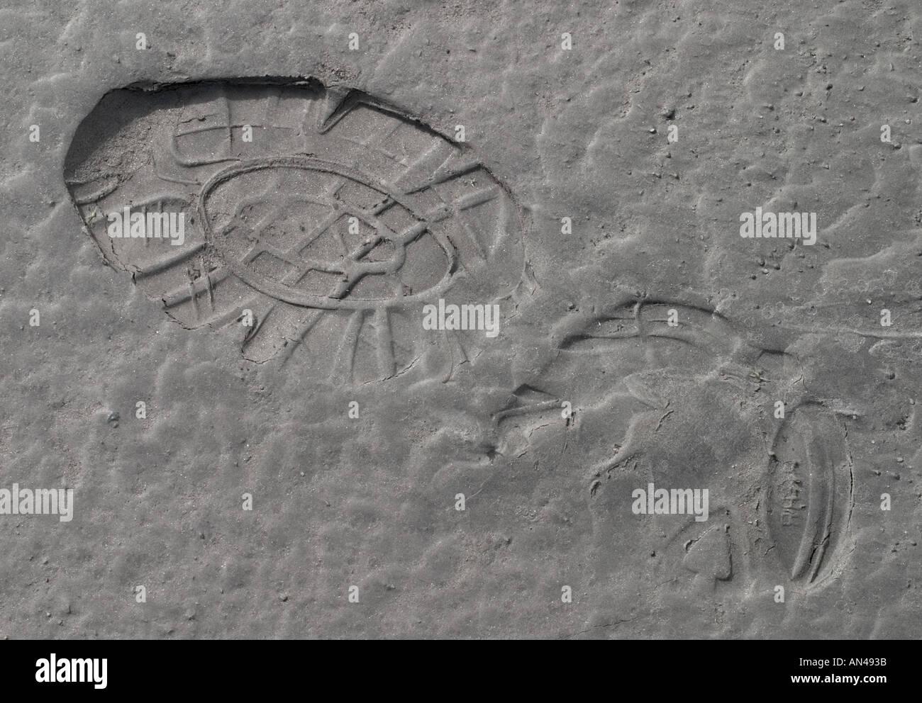 Shoeprint sur argile gris doux Photo Stock