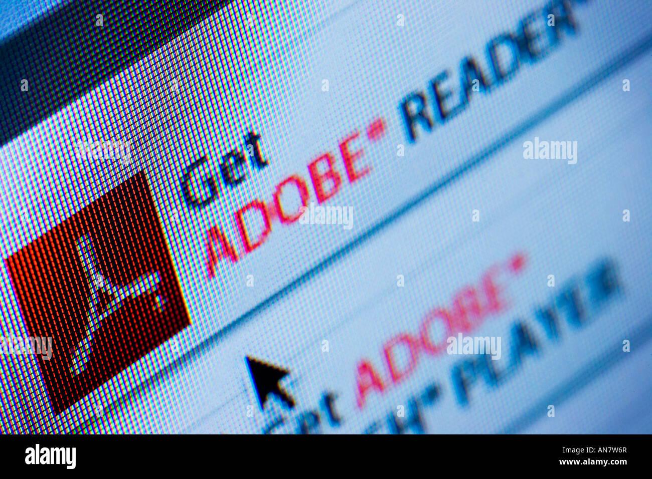 Télécharger Adobe Acrobat Reader du site web Photo Stock