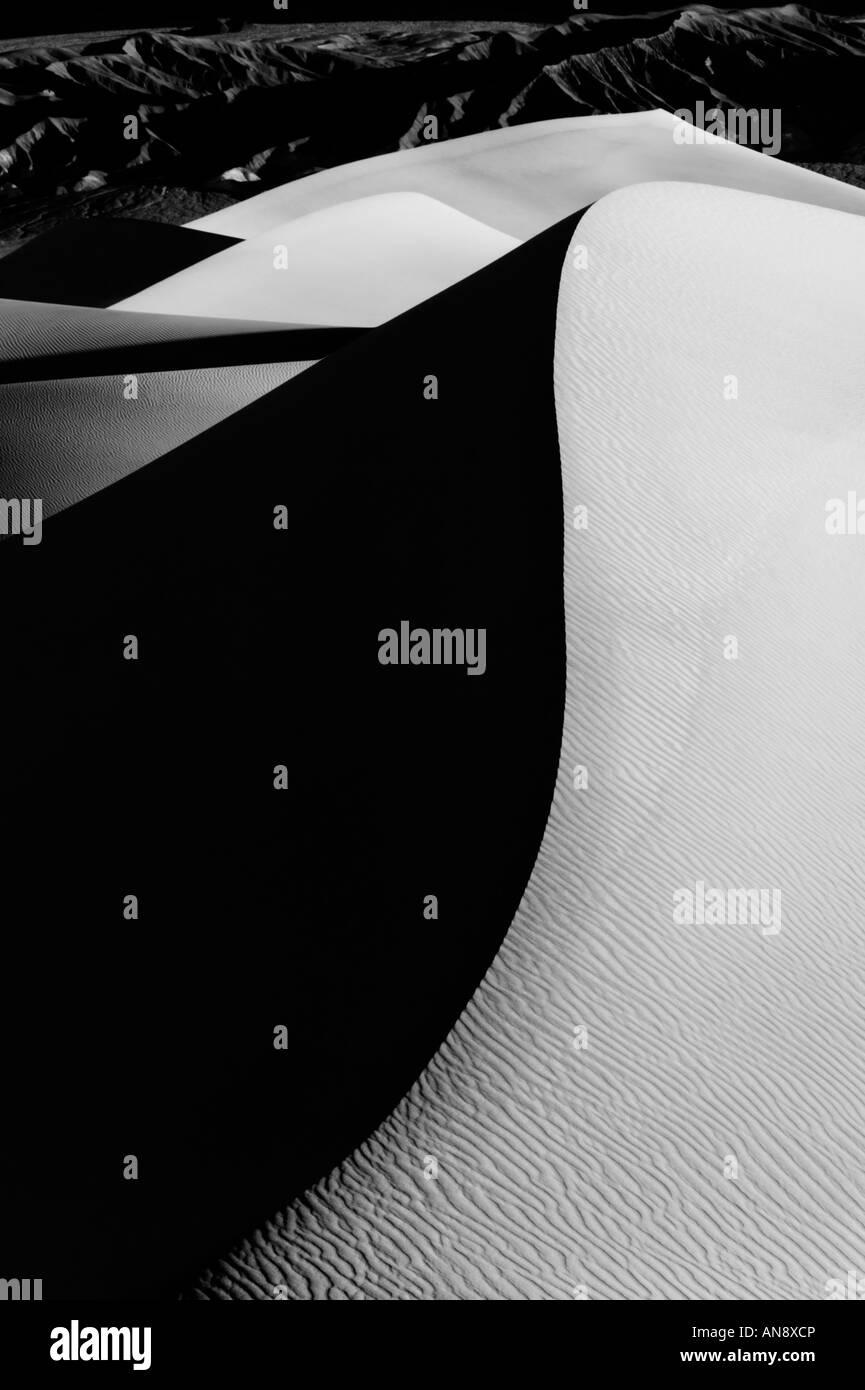 La vallée de la mort noir et blanc détail des dunes de sable Photo Stock