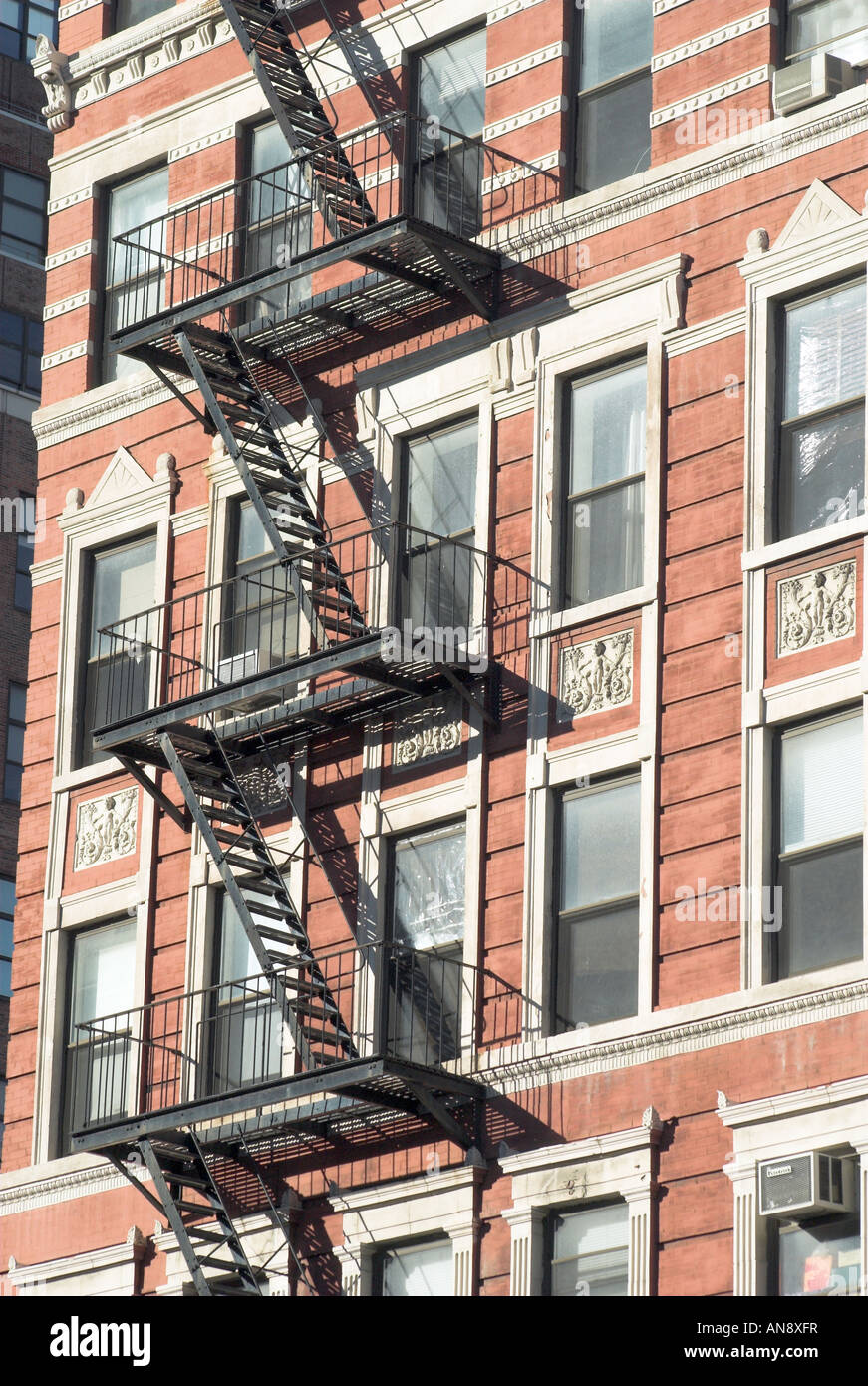 Un escalier de secours de la ville de New York, Manhattan Photo Stock