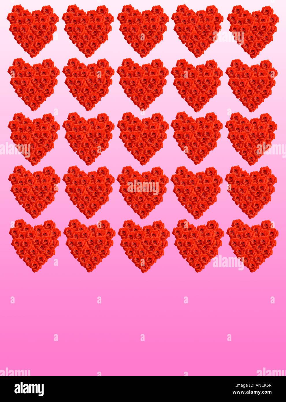 Valentine Hearts composé de roses rouges Photo Stock