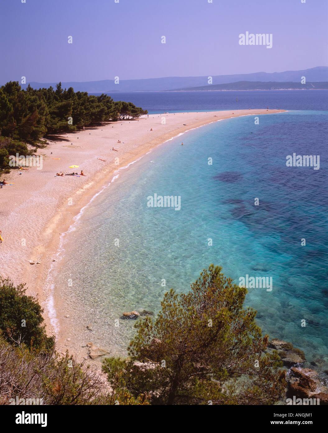 Plage de Zlatni Rat près de Bol, sur l'île de Brac, Croatie Photo Stock