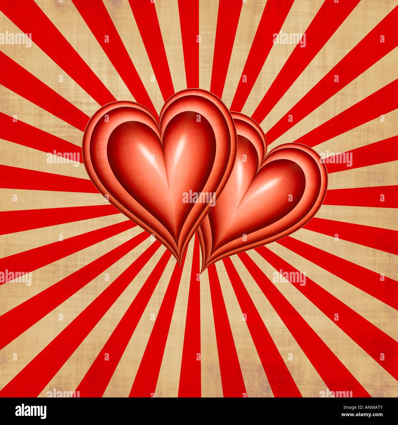 Deux cœurs ensemble sur faisceau arrière-plan style texturé Photo Stock